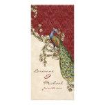 Vintage Peacock & Etchings Wedding Invitation Custom Rack Card