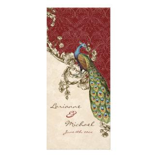 Vintage Peacock & Etchings Wedding Invitation Rack Card