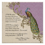 Vintage Peacock & Etchings - Wedding Personalized Poster