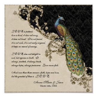 Vintage Peacock Etchings - Wedding Personalized Posters