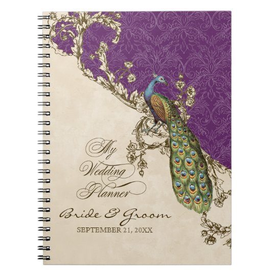 Vintage Peacock & Etchings Wedding Planner Journal