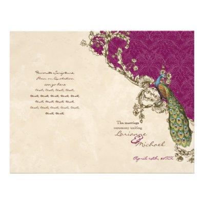 Vintage Peacock & Etchings Wedding Program