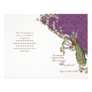 Vintage Peacock Etchings Wedding Program Custom Flyer