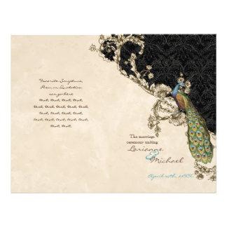 Vintage Peacock Etchings Wedding Program Flyers