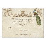 Vintage Peacock & Etchings Wedding RSVP Card