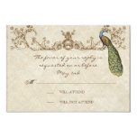"Vintage Peacock & Etchings Wedding RSVP Card 3.5"" X 5"" Invitation Card"