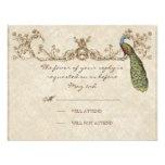 Vintage Peacock & Etchings Wedding RSVP Card Custom Invite
