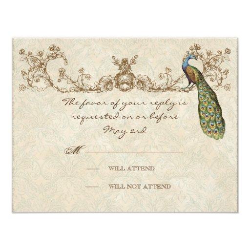 "Vintage Peacock & Etchings Wedding RSVP Card 4.25"" X 5.5"" Invitation Card"