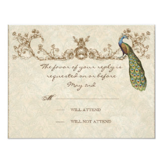 "Vintage Peacock & Etchings Wedding RSVP Card 4.25"" X 5.5"" Invitation Card"