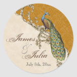 Vintage Peacock & Etchings  Wedding Seal Sticker