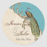 Vintage Peacock & Etchings  Wedding Seal Classic Round Sticker