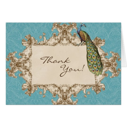 Vintage Peacock & Etchings Wedding Thank You Notes