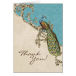 Vintage Peacock & Etchings Wedding Thank You Notes Stationery Note Card