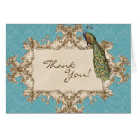 Vintage Peacock & Etchings Wedding Thank You Notes Greeting Cards