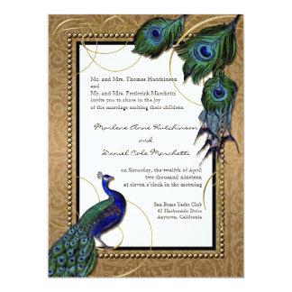 Vintage Peacock Feather 7 - Formal Elegant Wedding 6.5x8.75 Paper Invitation Card
