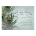 Vintage Peacock Feather Bridal Shower Invitations Cards