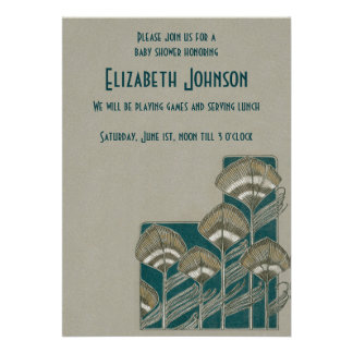 Vintage Peacock Feather Gender Neutral Baby Shower Invites