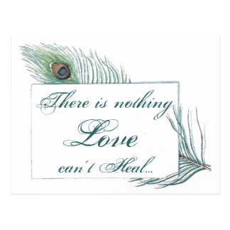Vintage Peacock Feather Inspirational Love Quote Postcard