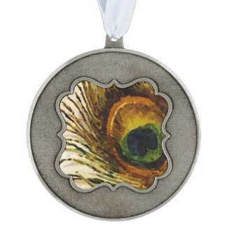 Vintage Peacock Feather Pewter Ornament