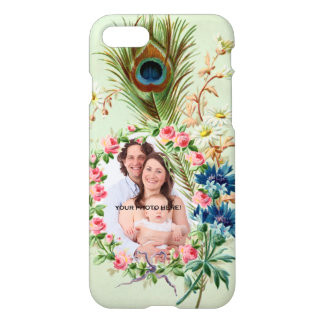 Vintage Peacock Feather & Rose Family Photo Frame iPhone 7 Case