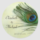 Vintage Peacock Feather Round Wedding Favor Label