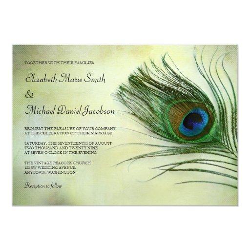 Peacock Wedding Invitations: Vintage Peacock Feather Wedding Invitations