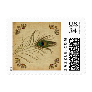 Vintage Peacock Feather Wedding Postage Stamps