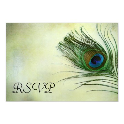 Vintage Peacock Feather Wedding RSVP Response Card