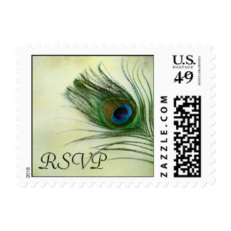Vintage Peacock Feather Wedding RSVP Stamp