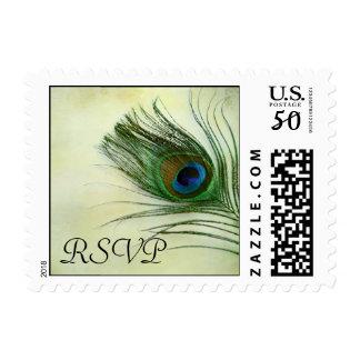Vintage Peacock Feather Wedding RSVP Stamp