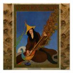 Vintage Peacock Feather Woman Poster