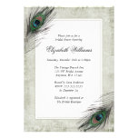 Vintage Peacock Feathers Bridal Shower Invitations
