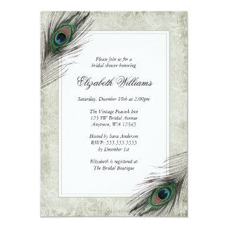 "Vintage Peacock Feathers Bridal Shower Invitations 5"" X 7"" Invitation Card"