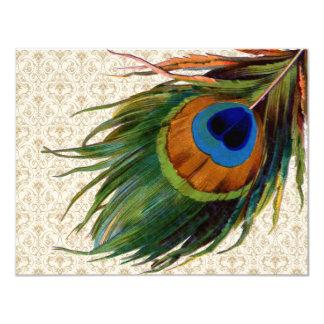 Vintage Peacock Feathers Bridal Tea Card