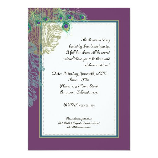 Vintage Peacock, Feathers - Couple Shower 5x7 Paper Invitation Card