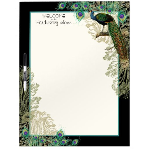 Vintage Peacock Feathers Etchings Kitchen Decor Dry Erase Board Zazzle