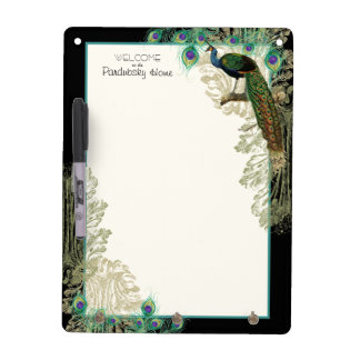 Vintage Peacock Feathers Etchings - Kitchen Decor Dry Erase Board