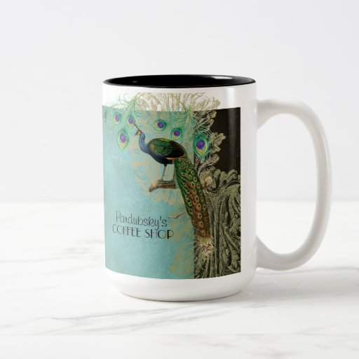 Vintage Peacock Feathers Etchings Kitchen Decor Coffee Mug