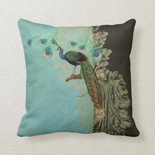 Vintage Peacock Feathers Etchings Kitchen Decor Pillow Zazzle