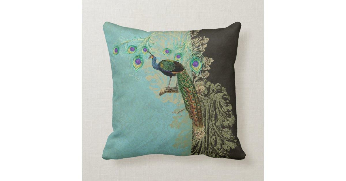 Vintage Peacock Feathers Etchings Kitchen Decor Throw Pillow Zazzle