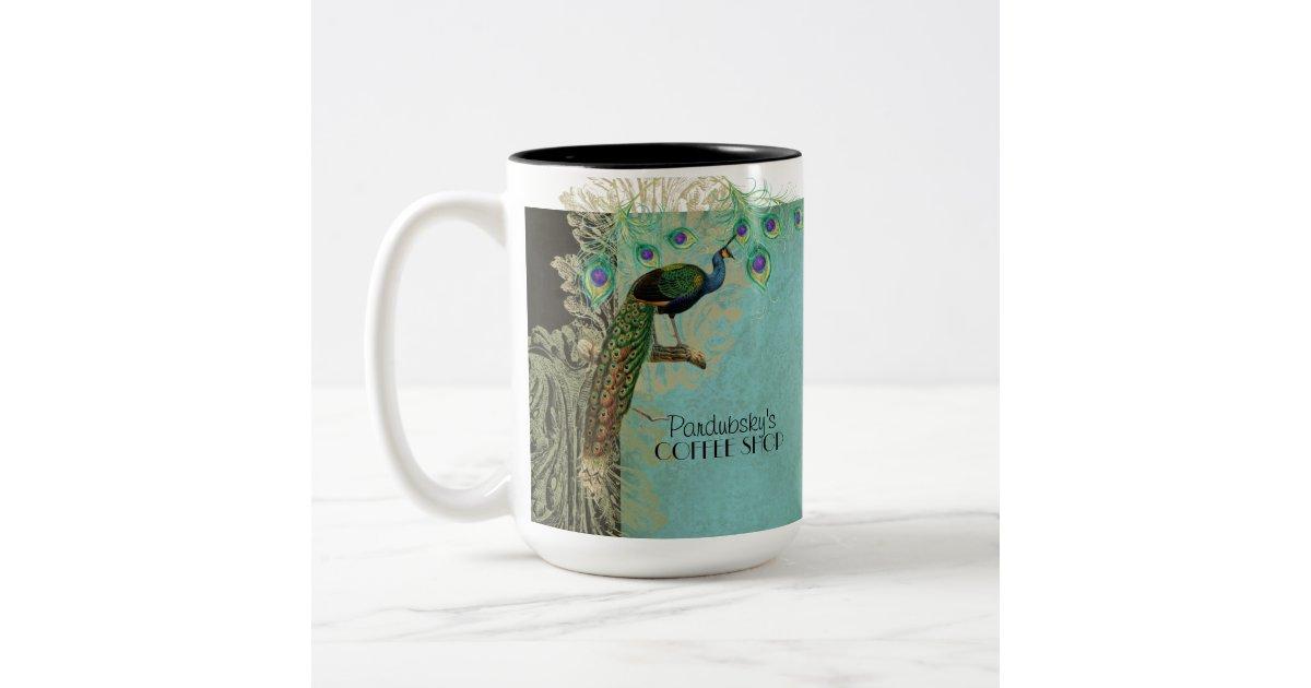 Vintage Peacock Feathers Etchings Kitchen Decor Two Tone Coffee Mug Zazzle