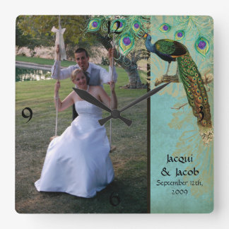 Vintage Peacock Feathers Etchings - Wedding Photo Wall Clock