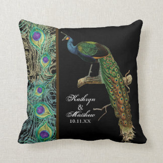 Vintage Peacock, Feathers n Etchings Decorative Pillows