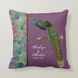 Vintage Peacock, Feathers n Etchings Decorative Throw Pillow