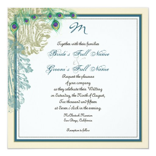 """Vintage Peacock, Feathers n Etchings - Invitation 5.25"""" Square Invitation Card"""