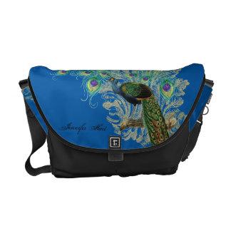 Vintage Peacock, Feathers n Etchings Pattern Bag Messenger Bag
