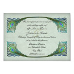 Vintage Peacock Feathers Nouveau Wedding Reception Card