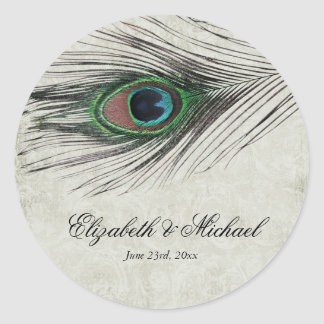 Vintage Peacock Feathers Round Wedding Favor Label