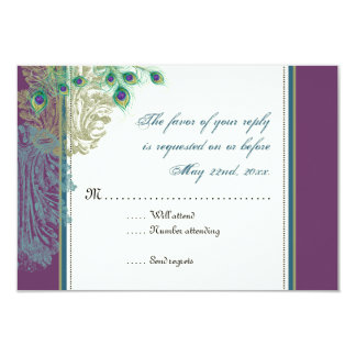 Vintage Peacock, Feathers  RSVP response card