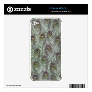 Vintage Peacock Feathers Decals For iPhone 4